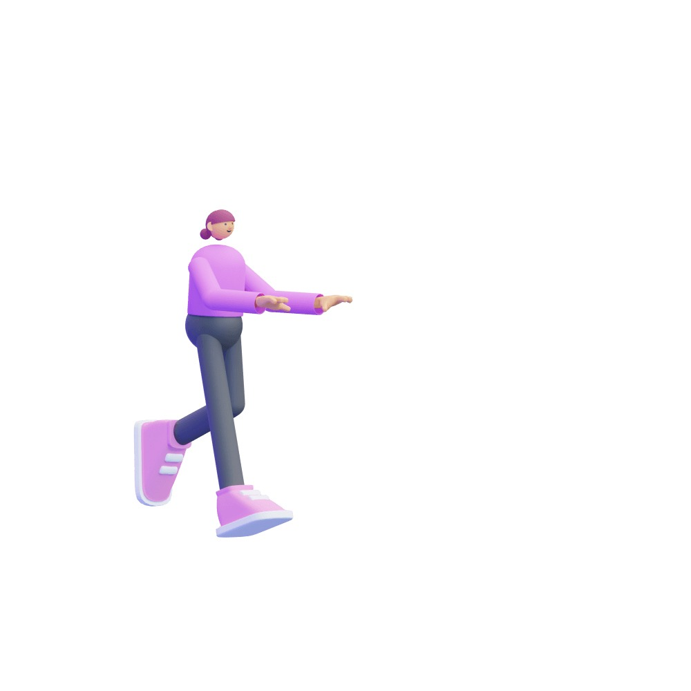 3d female character dressed in pink clothes
