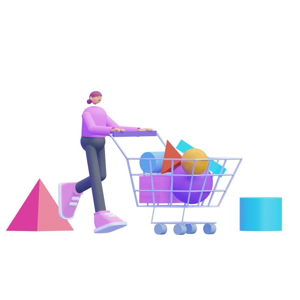 3d woman pushing a shopping cart full of products