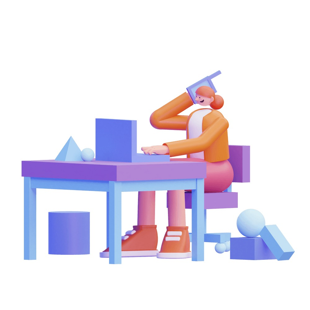 3d woman sitting on a desk talking on the phone