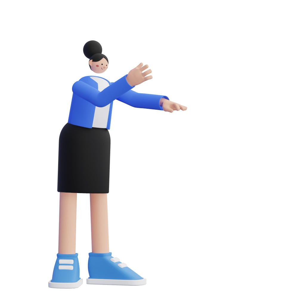 3d female character gesticulating and speaking