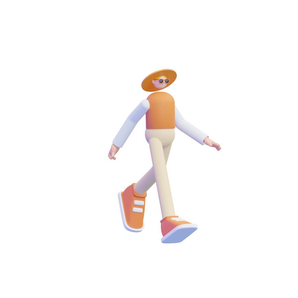 3d woman walking