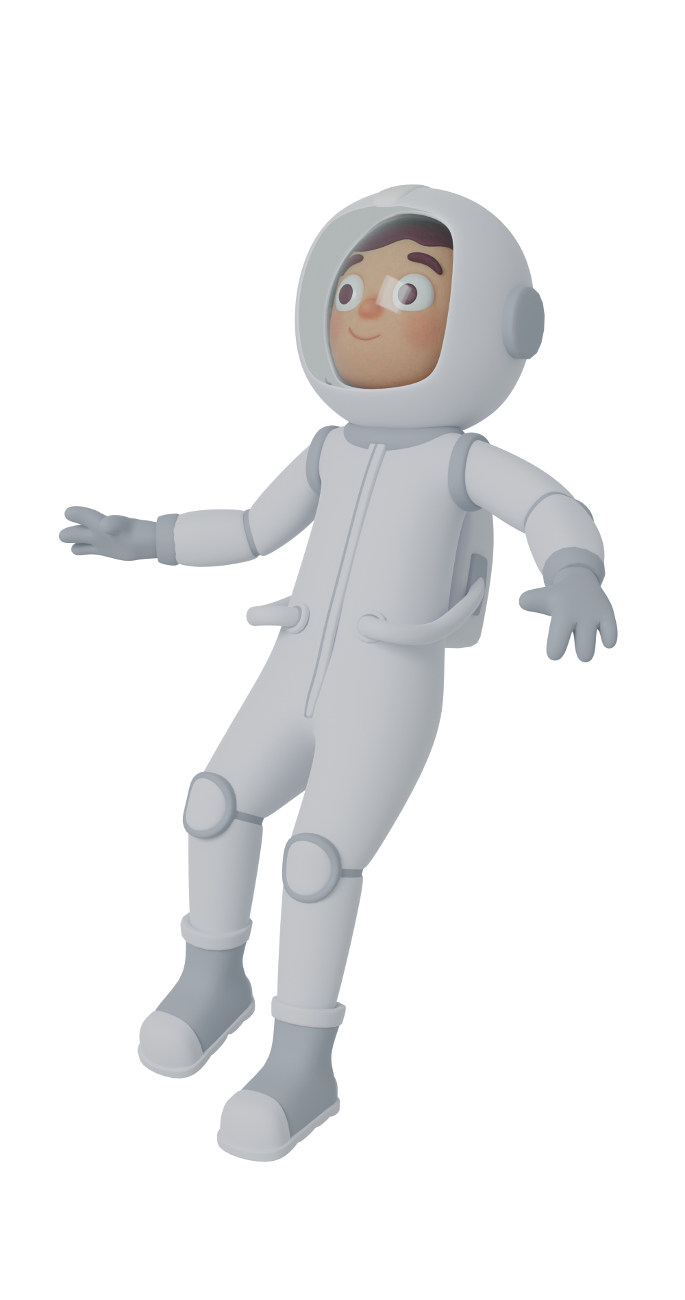 3d character design of an astronaut floating
