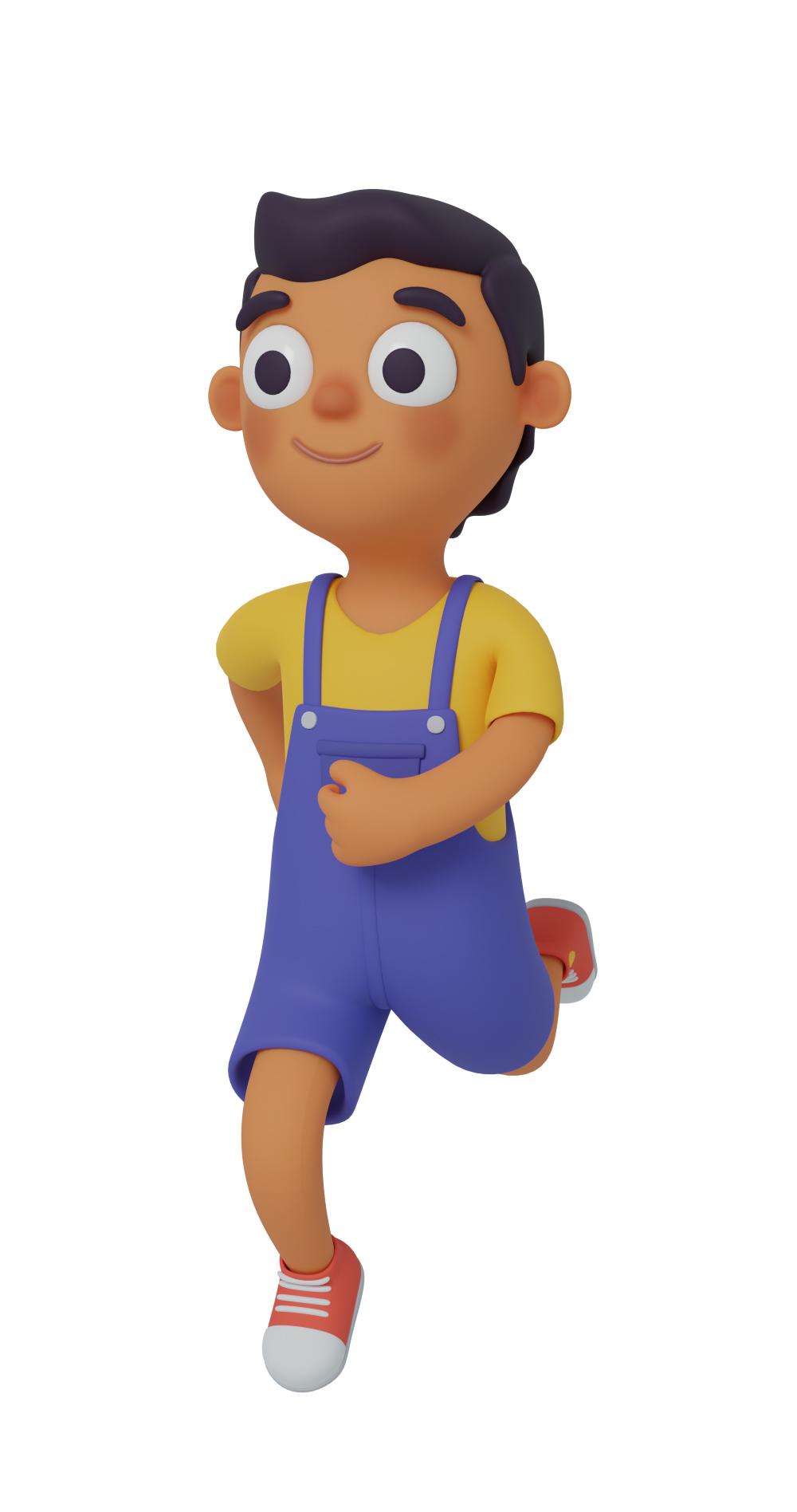 3d character design of a boy running
