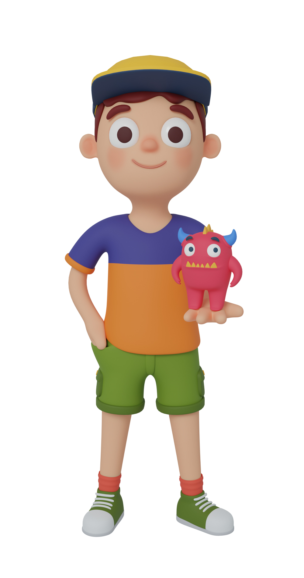 3d character design of a boy standing up