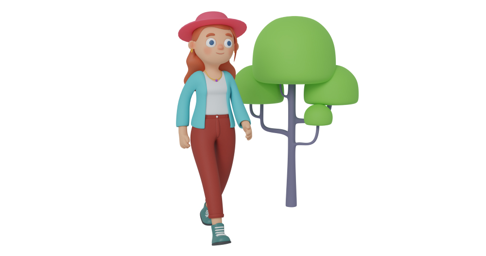 3d character design of a girl walking