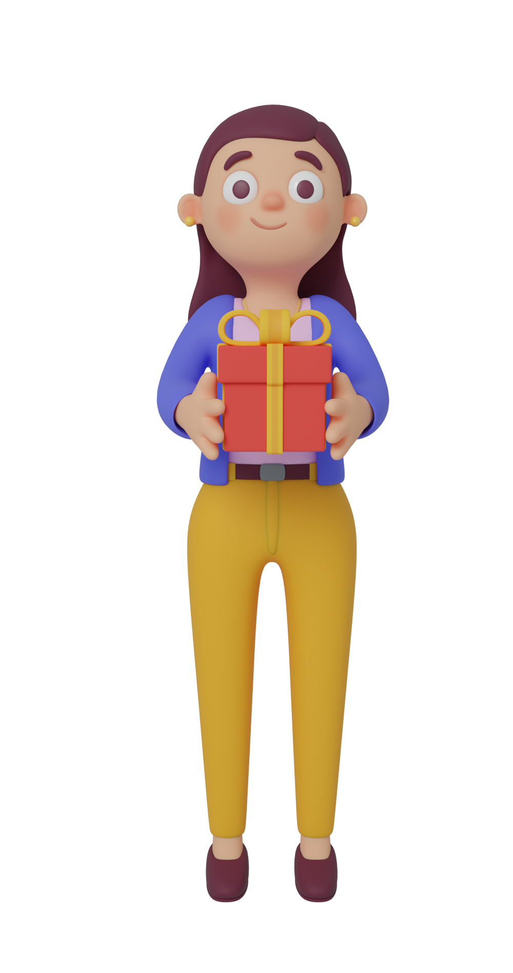 3d character design of a girl standing up