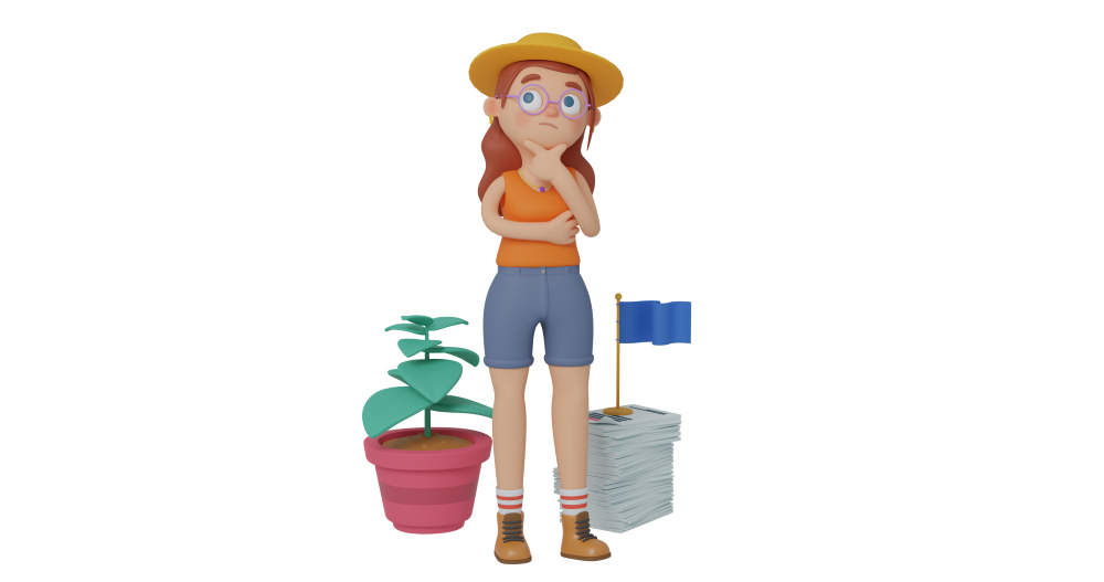 3d character design of a girl doing a thinking gesture