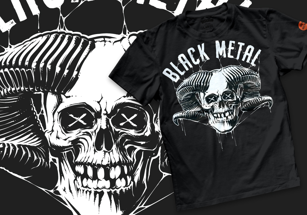 preview t-shirt mockup of an illustration, part of the skull t-shirt designs collection