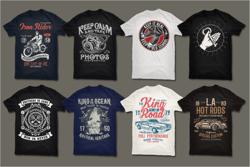a large preview of the vector t-shirt designs included in the package
