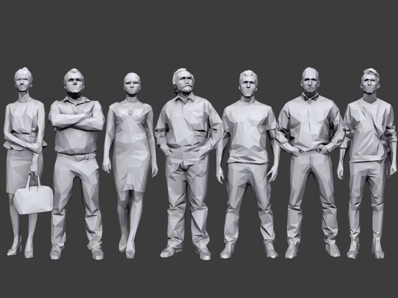 small poster showing 7 male and female low poly 3d people models posing in different casual stances