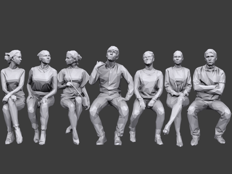 small poster showing 7 male and female low poly 3d people models sitting down and looking/leaning in different directions