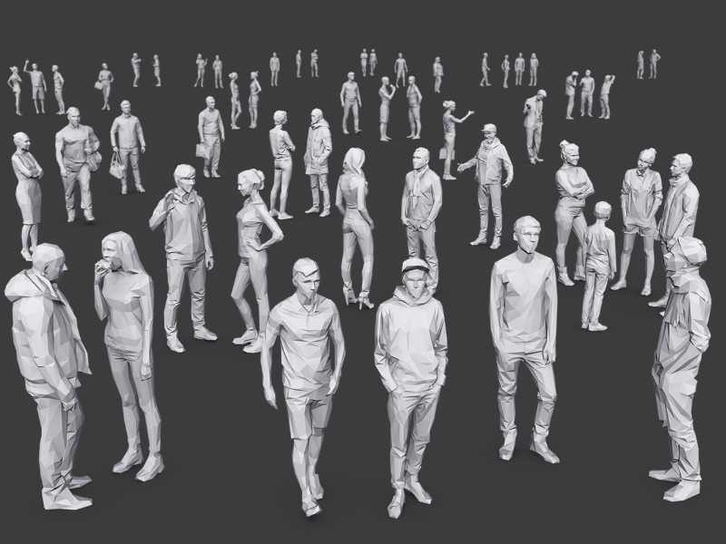 medium sized scene showing several different 3D people models interacting with each other
