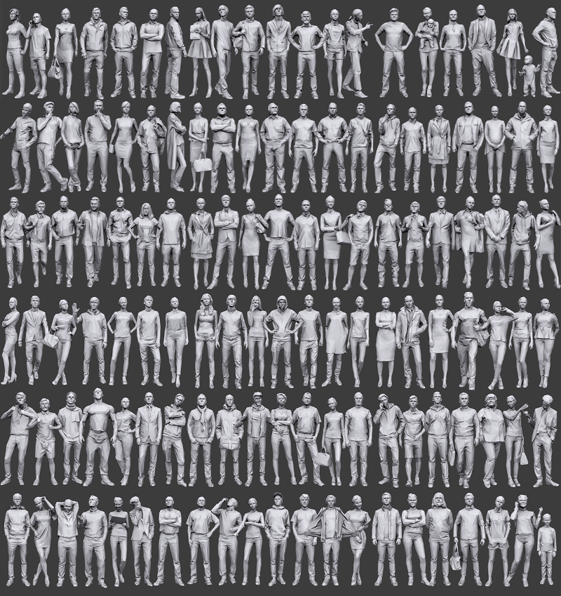 large poster showing dozens of low poly 3d people models in different poses