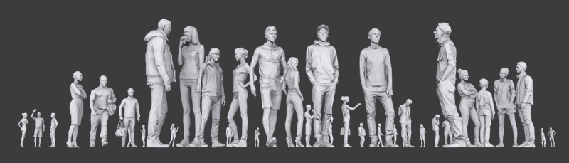 dozens of 3d low poly people models in different poses and interacting with one another seen from a ground view point