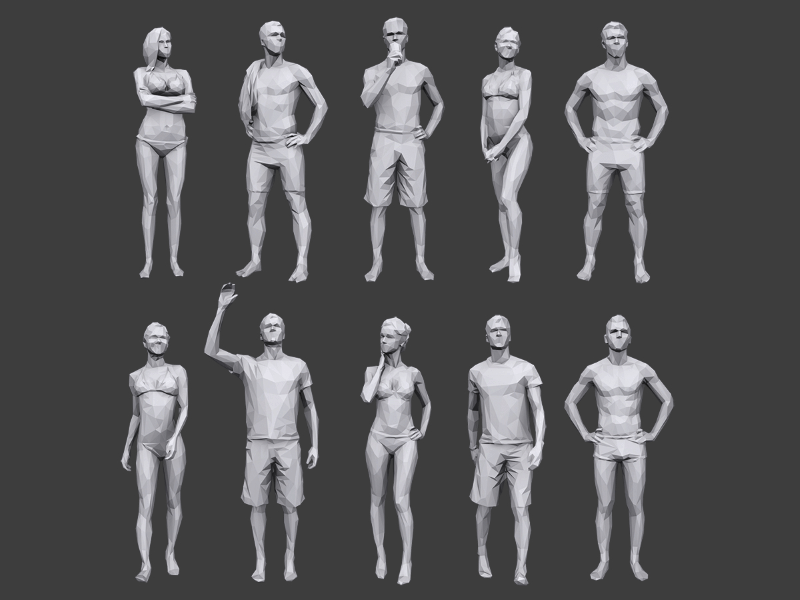 medium sized poster showing 10 male and female low poly 3d people models wearing summer bathing suits and posing in different ways