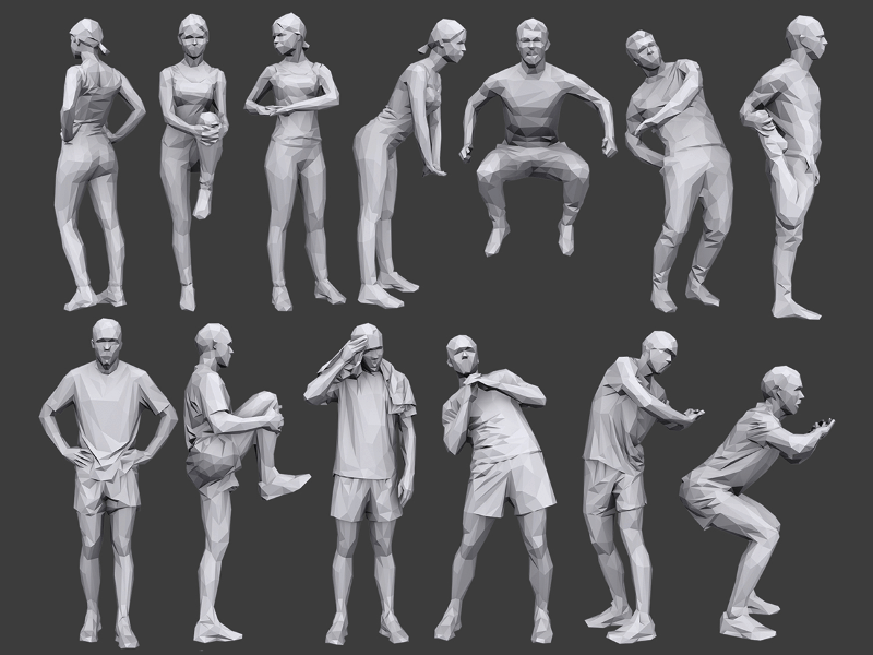 medium sized poster showing 12 male and female low poly 3d people models with fitness related clothing and poses