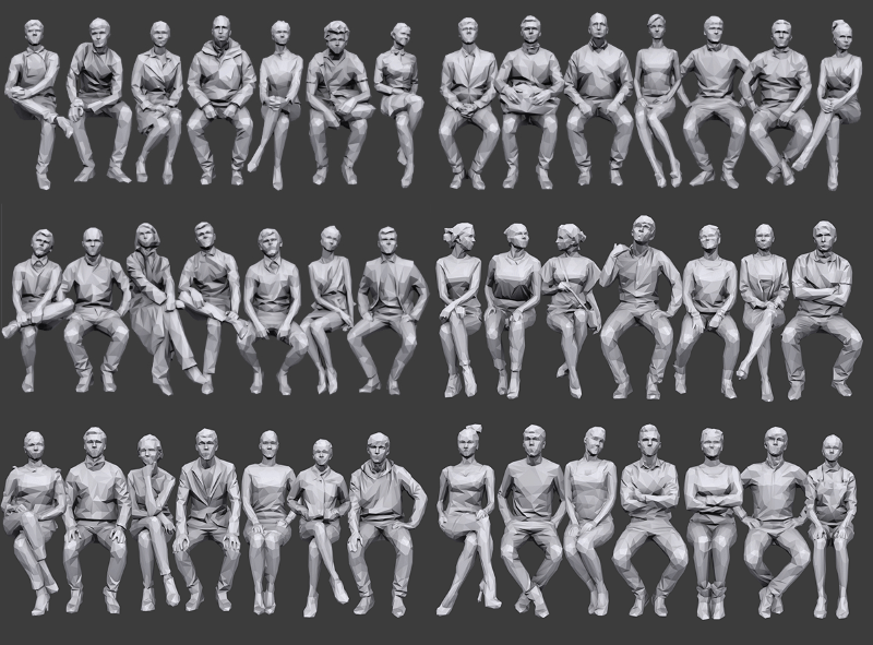 large poster with dozens of male and female low poly 3d people models sitting down and leaning in different ways